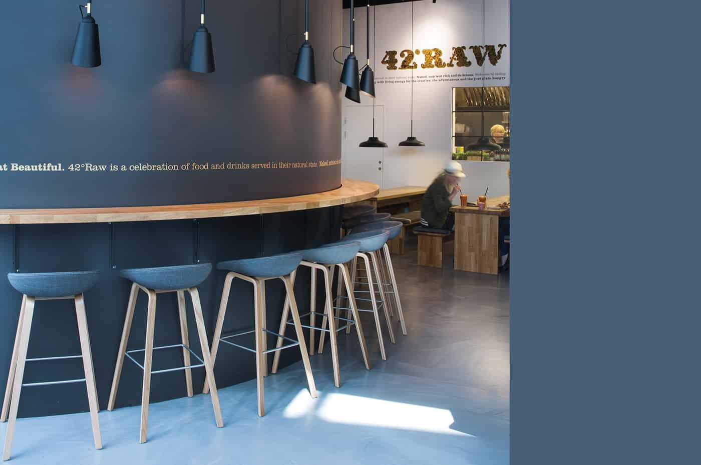 RITAarch, 42RAW, 42RAW Hellerup, indretning, spaceplanning, Cafeindretning, resturantindretning, cafe, siddeområde, dropin