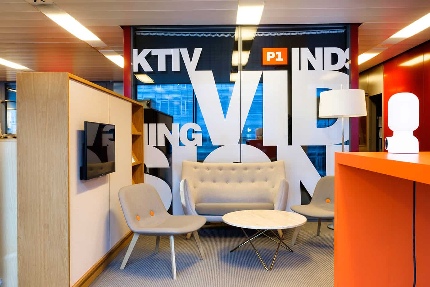 RITAarch DR Danmarks radio, indretning, Ventelounge, lounge, Grafik, dekoration