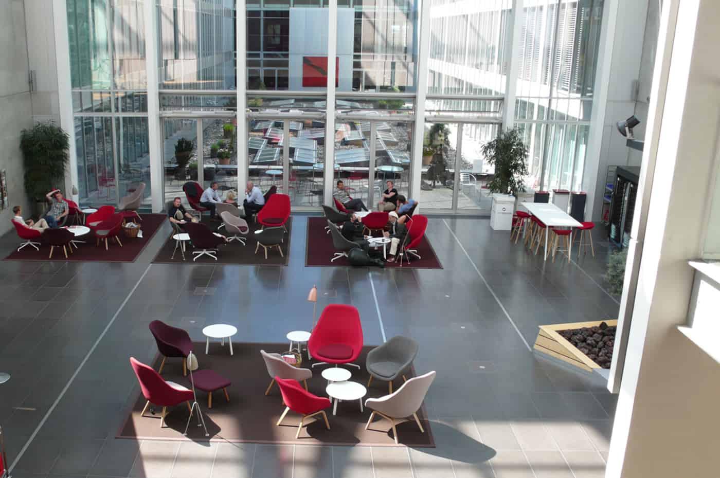 RITAarch DR Danmarks radio, indretning, lounge, DR gaden, Dr indre gade, lounge område, åben atrium, fleksibelindretning, dropin