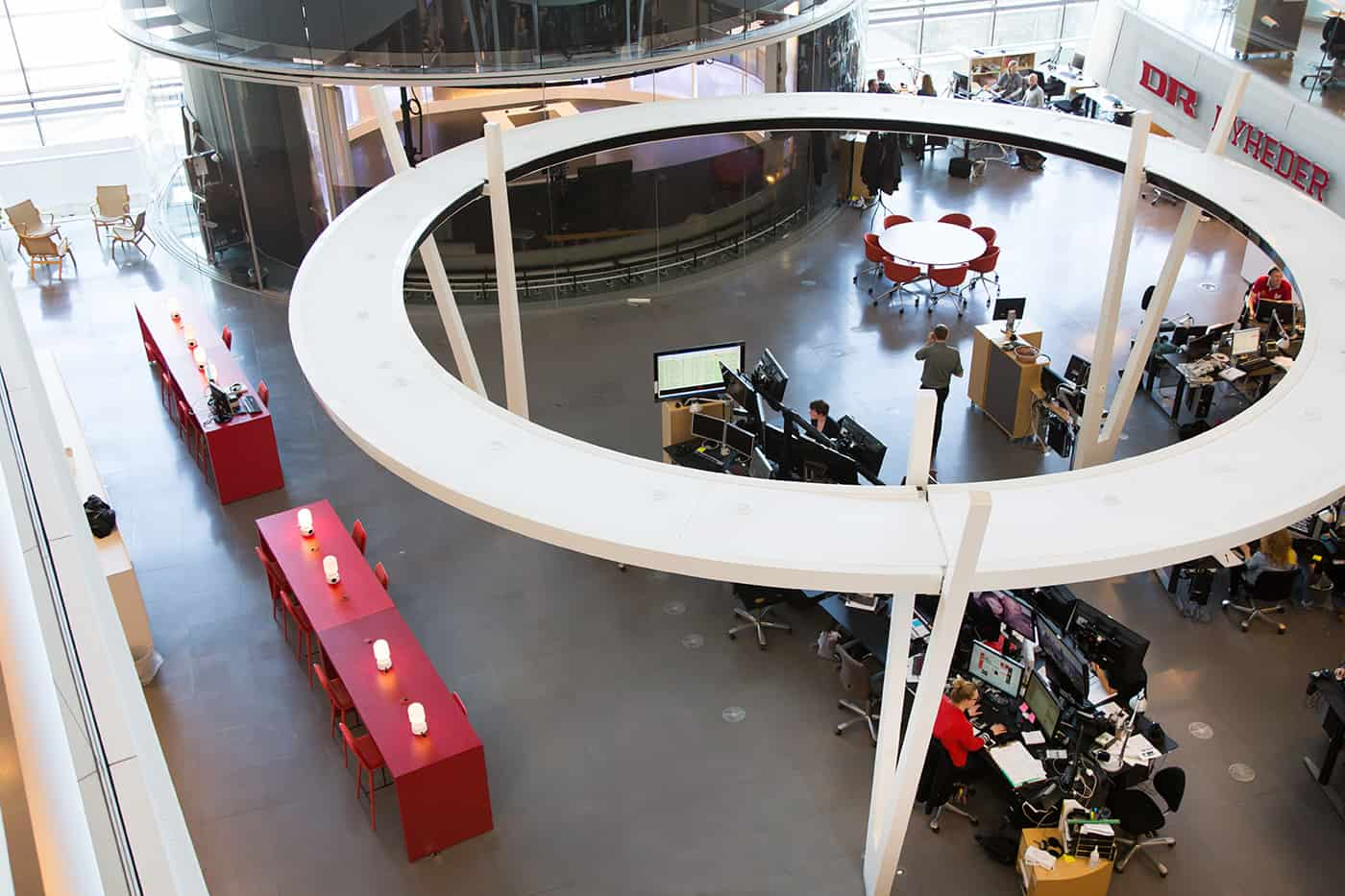 RITAarch DR Danmarks radio, indretning, lounge, DR gaden, Dr news, arbejdsområde, kontorindretning, lounge