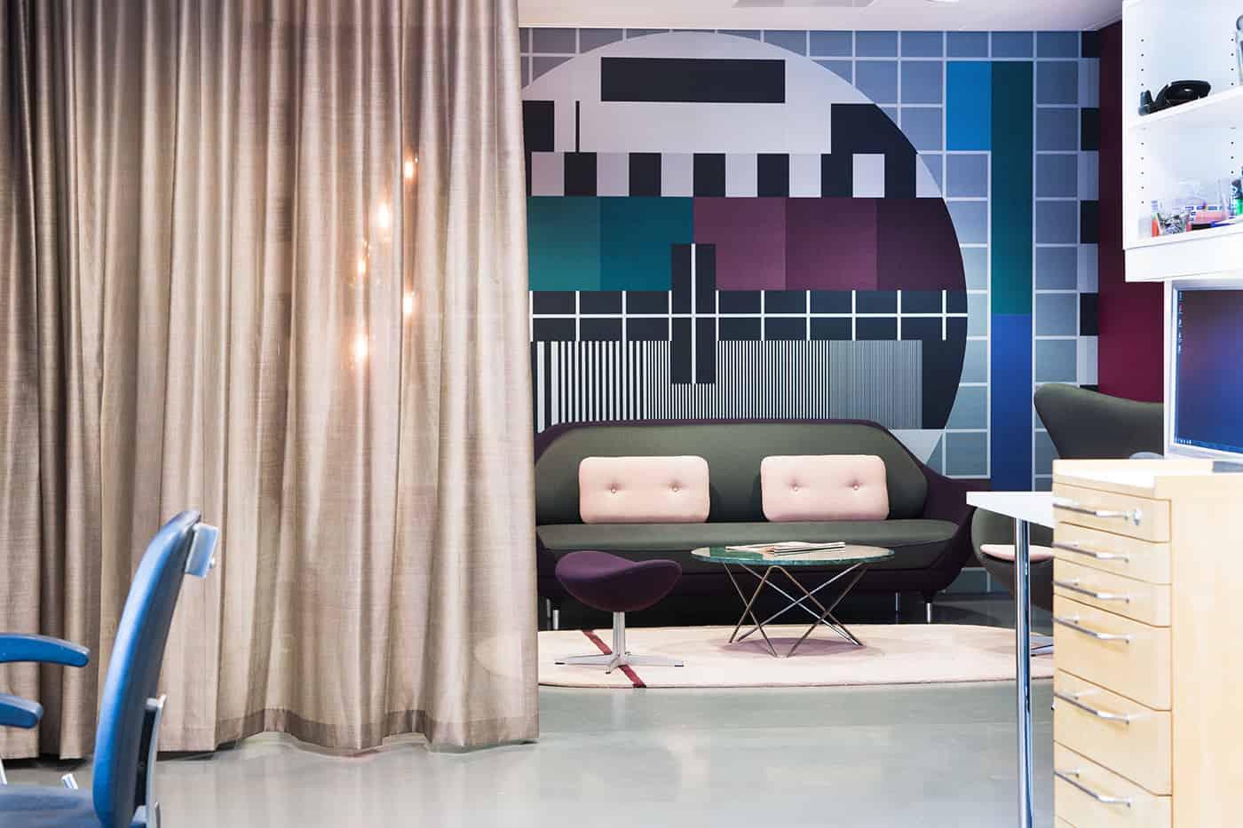 RITAarch DR Danmarks radio, indretning, Ventelounge, lounge, fotostat