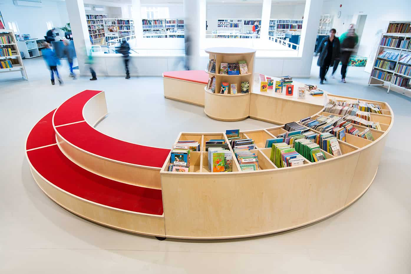 RITAarch, Indretning, spaceplanning, biblioteksdesign, biblioteksindretning, wayfinding, grafik, spaceplanning, arkitektur, børnebibliotek, specialinventar, Holbæk bibliotek