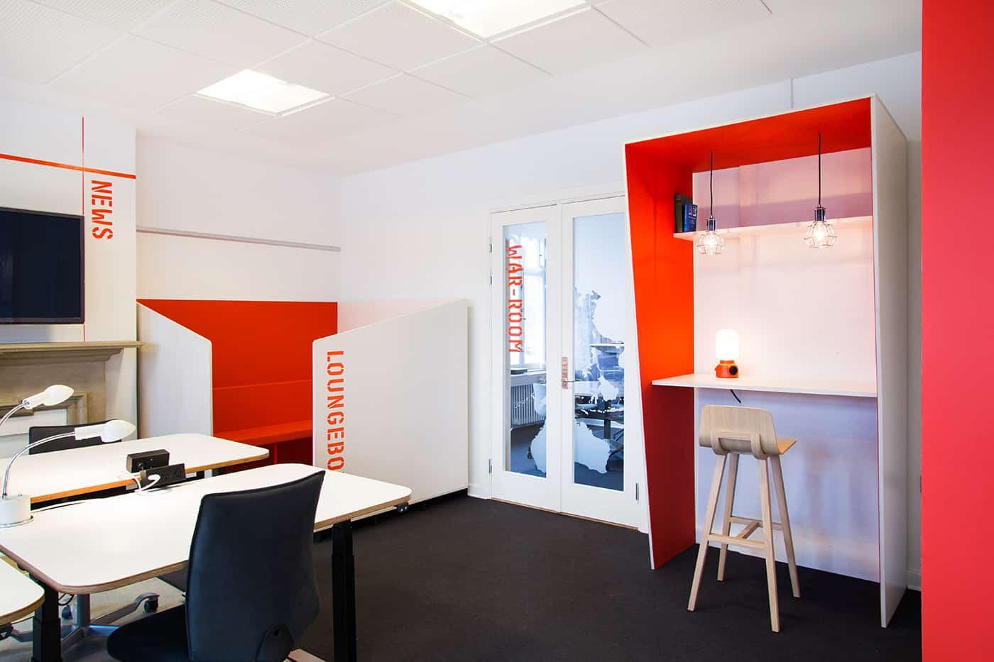 RITAarch, indretning, spaceplanning, kontorindretning, dropin, specialinventar, specialdesign, højbord, Nyt hospital Nordsjælland projekthus